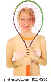 A young girl with her tennis racket 153