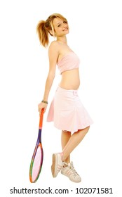 A young girl with her tennis racket 187