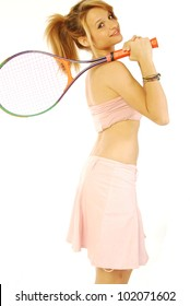 A young girl with her tennis racket 172