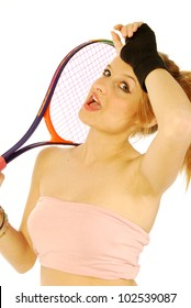 A young girl with her tennis racket 194