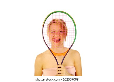 A young girl with her tennis racket 154