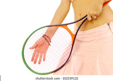 A young girl with her tennis racket 170