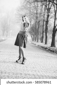 young girl, hipster, standing on the street