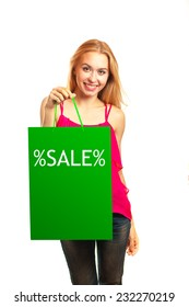 young girl hold green shopping bag isolated on white