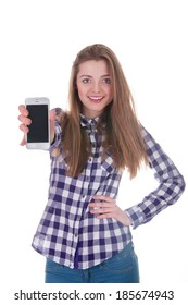 Young girl holding mobile phone