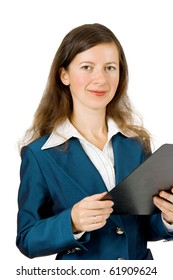 young girl holding a notebook and a smile on a white background