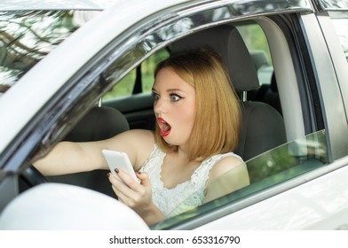 Young girl, holding phone in hand looked directly, creating an emergency situation