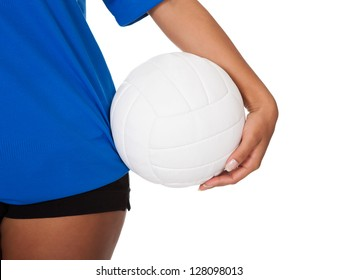 Young Girl Holding Volleyball. Isolated On White
