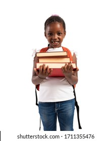 Young girl holds book and is ready to go at school