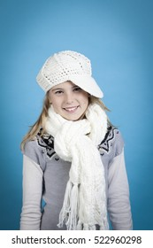 Young girl with holiday and funny festive theme isolated on blue background