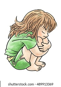 Young girl hunched over hugging her knees with a sad/angry expression.