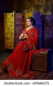 Young girl in Indian sari