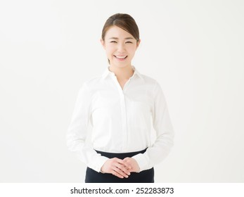 young girl introducing something