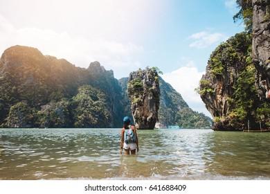 Young girl at James Bond islands beach