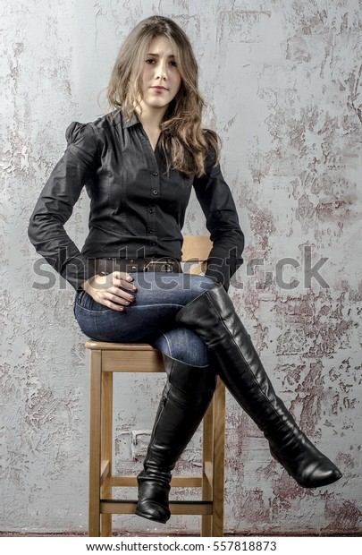 Girl Jeans High Boots Black Stock Photo