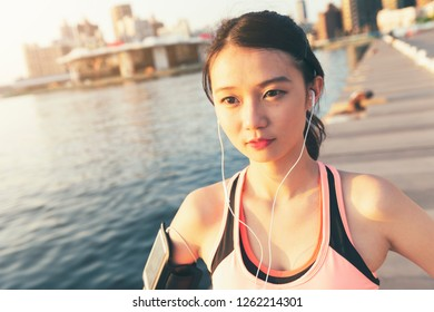 Young girl jogging in the park