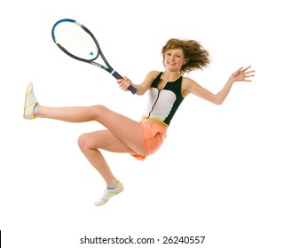 Young girl jump when playing tennis. Isolated on white
