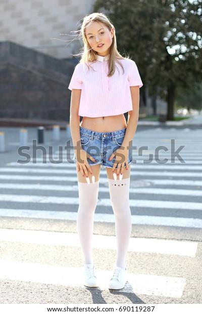 sale usa online online retailer no sale tax Young Girl Knee Socks Girl Crosses Stock Photo (Edit Now ...