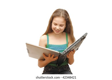 The young girl with the laptop isolated