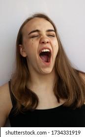 Girl open mouth teen Surprised Teenage