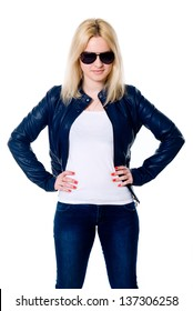 Young girl in a leather jacket and dark glasses. Isolated on a white background