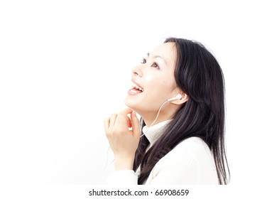 young girl listening to music