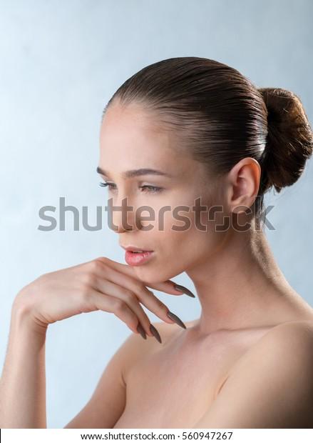 Girls with long fingernails