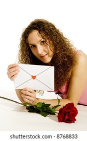 young girl in love with loveletter