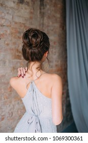 A young girl in a luxurious gray, -silver, sparkling, evening dress posing on the camera. Stylish bride in rustic style. A photo from the back, beautiful tailoring. Hairstyle high elegant bun.
