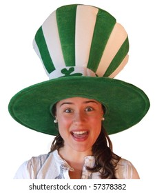 Young girl making funny face wearing Irish hat