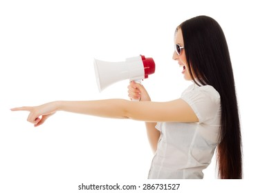 Young girl with megaphone isolated