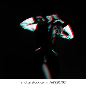 A young girl model of the Slavic appearance in a black jacket with white heads in a model pose with hands near the face, photo processed in the style of three-dimensional graphics