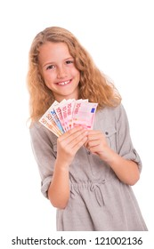 Young girl with money in her hands