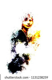 young girl with mysterious smile in abstract expressive form