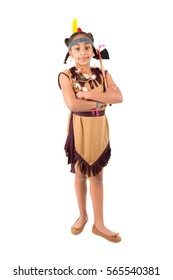 Young girl in native american costume isolated in white