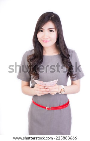 Young Girl Office Clothes Hold Money Stock Photo Edit Now