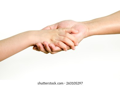 Young girl and older woman holding hands, mother and daughter. Concept of love, help, and trust