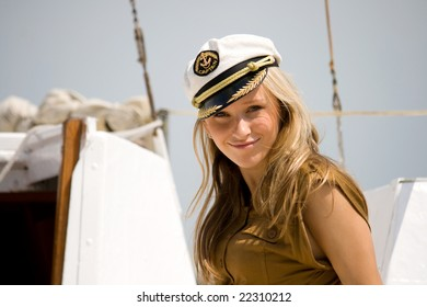 a young girl on the deck yacht