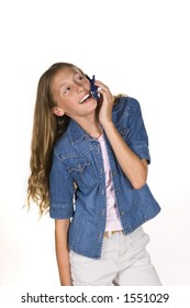 Young Girl on phone laughing