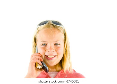 Young girl on the phone smiling / laughing
