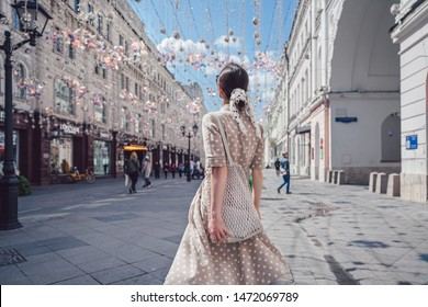 Young girl on the street in Moscow
