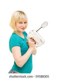 a young girl on a white background with a mixer in the hands of
