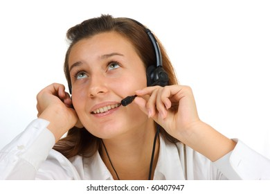 Young girl Operator call center  isolated on white