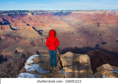 Young girl overlooking in Grand Canyon National Park,Arizona