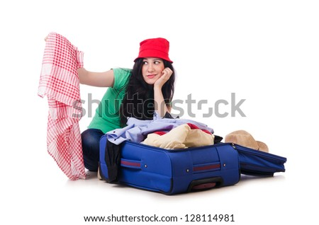 young girl packing vacation stock photo edit now 128114981