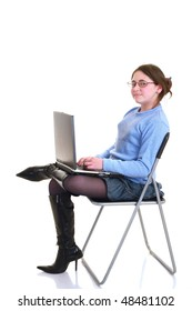 young girl with pc