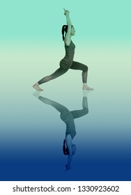 young girl performs different poses of yoga, flexible beautiful model on a white background. meditation and asanas. the harmony of body and spirit