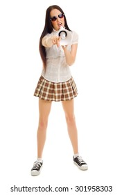 Young girl in plaid skirt and megaphone isolated