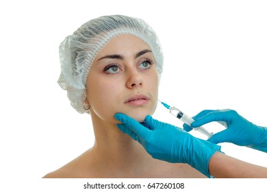 young girl at the plastic surgeon does prick