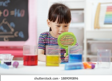 young girl  play science experiments for homeschooling